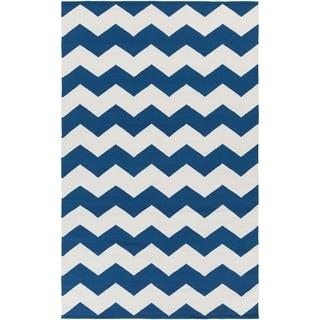 Hand-Woven Macy Chevron Cotton Rug (3 x 5 - Navy)