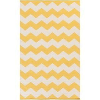 Hand-Woven Macy Chevron Cotton Rug (3 x 5 - Yellow)