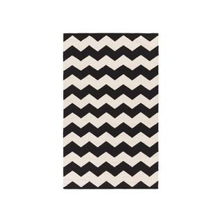 Hand-Woven Macy Chevron Cotton Rug (3 x 5 - Black)