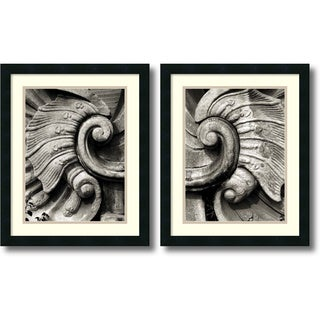 Tang Ling 'Stone Carving- set of 2' Framed Art Print 18 x 22-inch Each