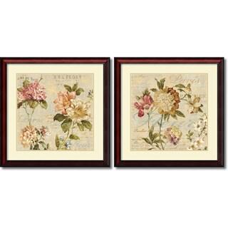 Deborah Devellier 'Fleur Paris- set of 2' Framed Art Print 28 x 28-inch Each