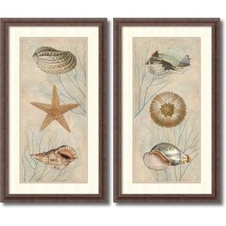 Deborah Devellier 'Ocean Companions- set of 2' Framed Art Print 19 x 32-inch Each