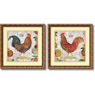 Suzanne Nicoll 'Rooster, gold frame- set of 2' Framed Art Print 18 x 18-inch Each