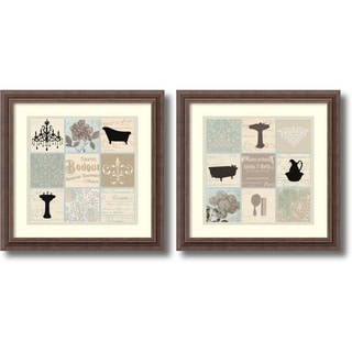 Paula Scaletta 'Bath Collage- set of 2' Framed Art Print 18 x 18-inch Each