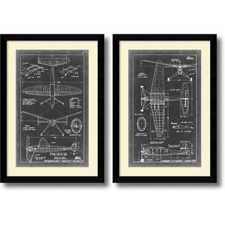 Vision Studio 'Aeronautic Blueprint III & IV- set of 2' Framed Art Print 26 x 37-inch Each