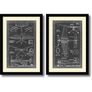 Framed Art Print 'Aeronautic Blueprint III & IV - set of 2' by Vision Studio 26 x 37-inch Each