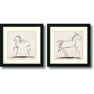 Tom Reeves 'Horses- set of 2' Framed Art Print 18 x 18-inch Each