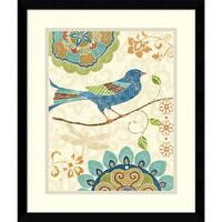 Framed Art Print 'Eastern Tales Birds I' by Daphne Brissonnet 16 x 19-inch