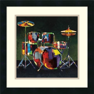 Framed Art Print 'Drum Set' by Elli and John Milan 18 x 18-inch