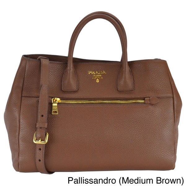 Prada Vitello Daino Leather Double Handle Tote Bag