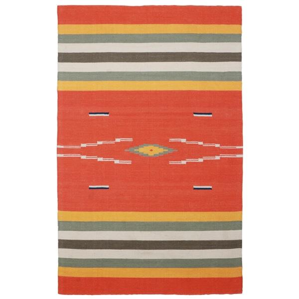 Sedona Naranja Hand-woven Tribal Geometric Area Rug (5' x 8') - 5' x 8'