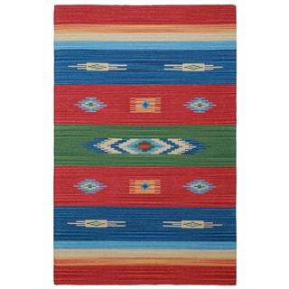 Sedona Rojo Hand-woven Tribal Geometric Area Rug (5' x 8')