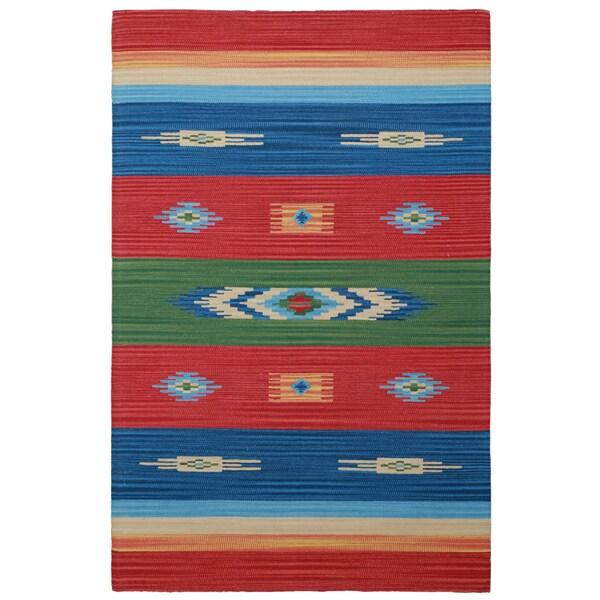 Sedona Rojo Hand Woven Tribal Geometric Area Rug 5 X 8