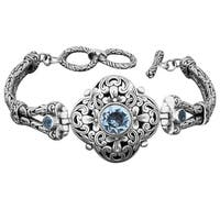 Handmade Sterling Silver Blue Topaz 'Floral Cawi' Toggle Bracelet (Indonesia)