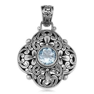 Handmade Sterling Silver Blue Topaz Floral Cawi Pendant (Indonesia)