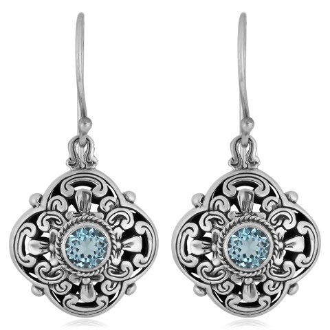 Handmade Sterling Silver Blue Topaz Floral Dangle Earrings (Indonesia)