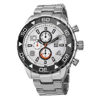 August Steiner Men's Swiss Quartz Multifunction Month Silver-Tone Bracelet Watch