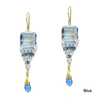 Handmade Exquisite Tiered Clear Crystals Square Brass Earrings (Thailand)