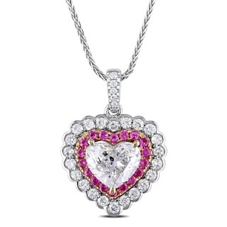 Miadora Signature Collection 14k White Gold Pink Sapphire and 1 3/5ct TDW Diamond Heart Necklace