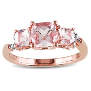 Miadora Morganite and Diamond Accent 3-Stone Engagement Ring in Rose Plated Sterling Silver (G-H, I1-I2)