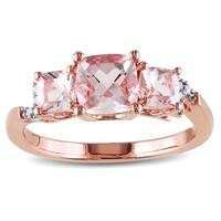 Miadora Sterling Silver Rose-Plated Morganite and Diamond Accent 3-Stone Engagement Ring (G-H, I1-I2)
