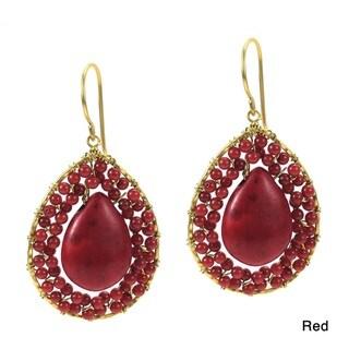 Mosaic Teardrop Red Coral Stone Handmade Brass Earrings (Thailand)