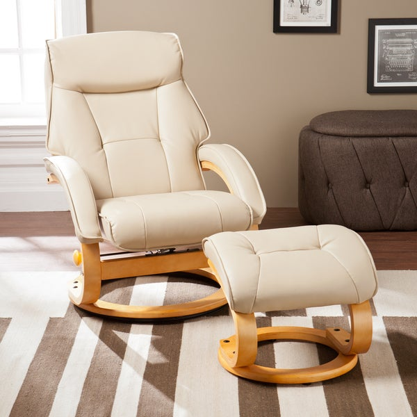 Arvid Taupe Bonded Leather Recliner and Ottoman