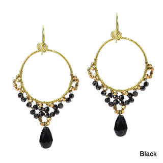 Elegant Belle Crystal Teardrop Dangle Brass Earrings (Thailand)