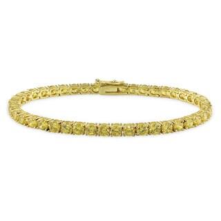 Miadora Sterling Silver Yellow Cubic Zirconia Tennis Bracelet