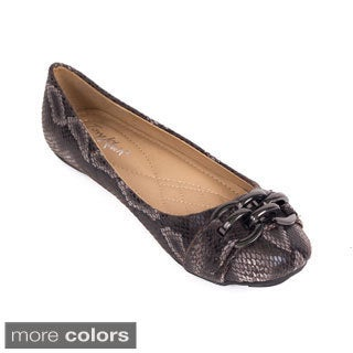 Women Faux Snakeskin Double-buckle Ballet Flats