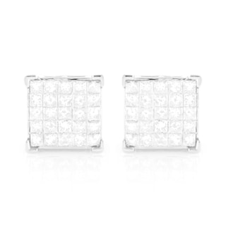 Luxurman 14k White or Yellow Gold 1 3/8ct TDW Square Diamond Stud Earrings