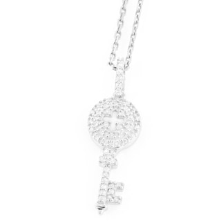 Luxurman 14k Gold 1/5ct TDW Diamond Key Pendant (H-I, SI1-SI2)