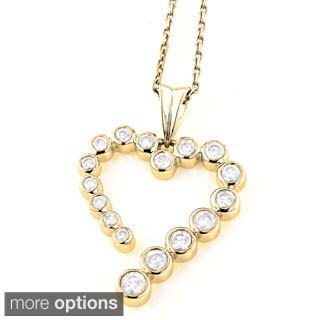Luxurman 14k Gold 3/4ct TDW Diamond Journey Heart Charm Necklace