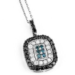 Luxurman 14k Gold 1 4/5ct TDW Black Blue and White Diamond Pendant