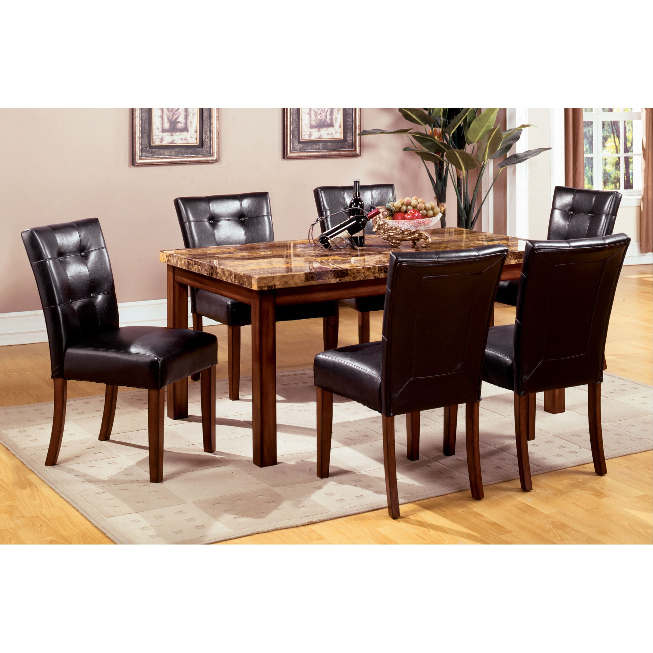 Furniture of America Tamerithe 7-Piece Faux Marble Dining...
