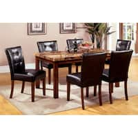 Furniture of America Tamerithe 7-Piece Faux Marble Dining Set