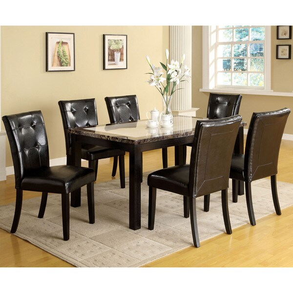 Furniture of America Queh Modern Black Solid Wood 7-piece Dining Set
