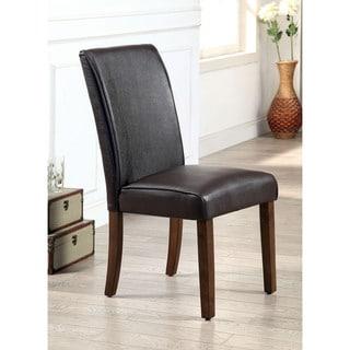 Furniture of America Tressima Dark Oak Leatherette Dining Chair (Set of 2)