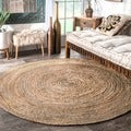 Havenside Home La Jolla Eco Natural Fiber Braided Reversible Round Jute Area Rug (4')
