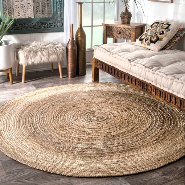 nuloom alexa eco natural fiber braided reversible round jute rug