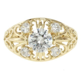 Michael Valitutti Signity 14k Yellow Gold and Cubic Zirconia 'Domed Filigree' Ring