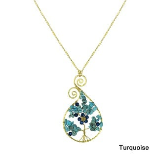 Wondrous Tree of Life Stone Raindrop Swirl Brass Necklace (Thailand)