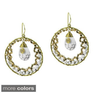 Dazzling Moon Teardrop Stone Dangle Brass Earrings (Thailand)