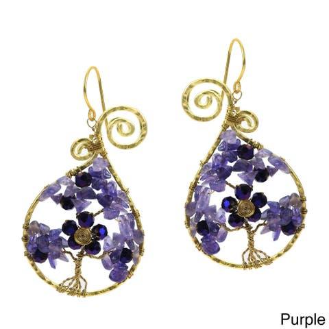 Handmade Tree of Life Stone Brass Earrings (Thailand)