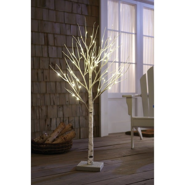 order home collection 4 foot decorative led birch tree wall decor stickers tree home design ideas