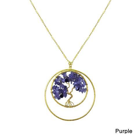 Handmade Tree of Life Stone Brass Necklace (Thailand)