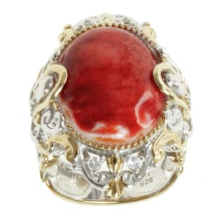 Michael Valitutti Two-tone Spiney Oyster Shell and White Sapphire Ring