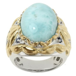 Michael Valitutti Two-tone Larimar and Blue Topaz Ring