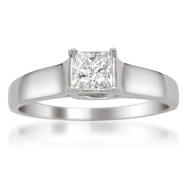 Montebello 14k White Gold 1/2ct TDW Princess-cut Certified Diamond Solitaire Ring
