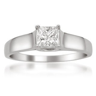 Montebello 14k White Gold 1/2ct TDW Princess-cut Certified Diamond Solitaire Ring